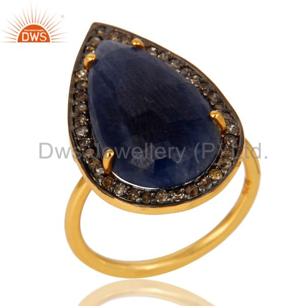 18K Yellow Gold Sterling Silver Diamond Pave Blue Sapphire Statement Ring