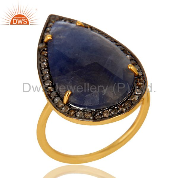 14K Yellow Gold Sterling Silver Blue Sapphire Statement Ring With Pave Diamond