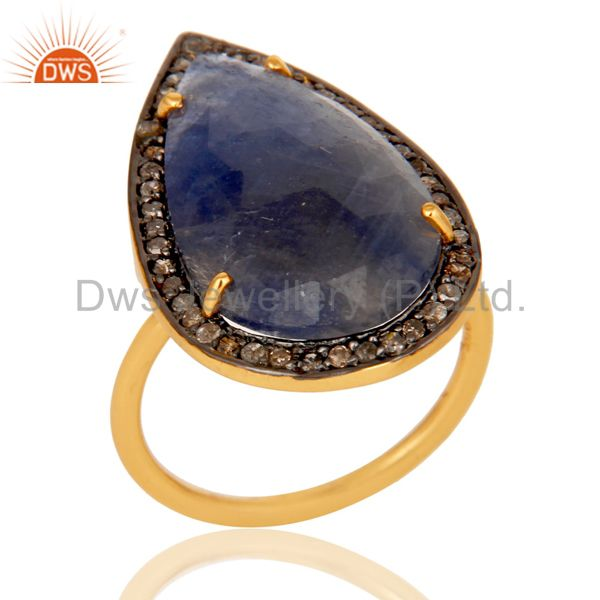 Blue Sapphire and Diamond Pave Set Gold Plated Sterling Silver Statement Ring
