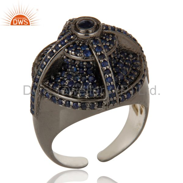 Victorian Estate Style Pave Set Natural Blue Sapphire Gemstone Silver Dome Ring