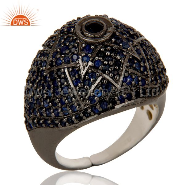 Victorian Estate Style Pave Setting Blue Sapphire Gemstone 925 Silver Ring