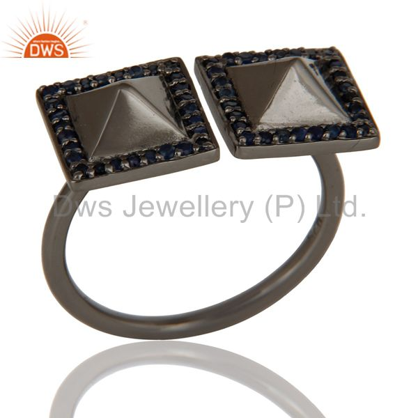 Blue Sapphire Black Oxidized Sterling Silver Pyramid Shape Ring Statement Ring