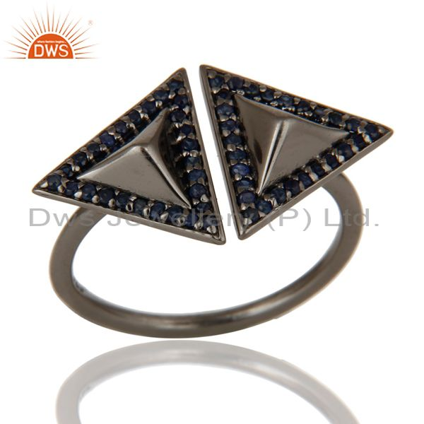 Blue Sapphire Sterling Silver Black Oxidized Pyramid Shape Ring Statement Ring