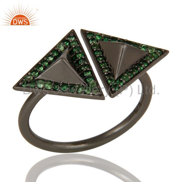 Tsavourite Sterling Silver Black Oxidized Pyramid Shape Ring Statement Ring