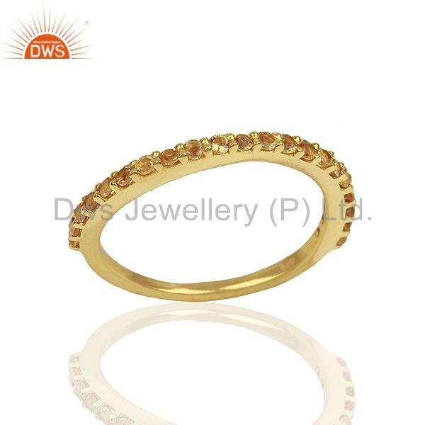 Citrine Gemstone Gold Plated Solid Silver Stackable Band Rings
