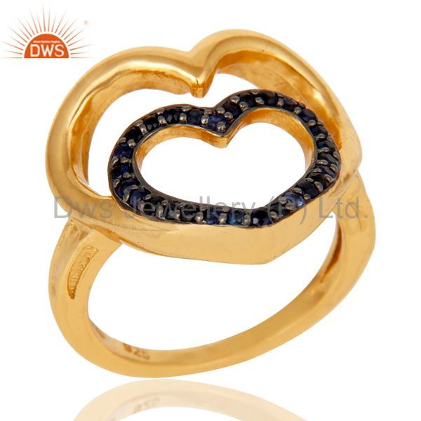18K Gold Plated Sterling Silver Blue Sapphire Heart Shape Ring Love Sign Ring