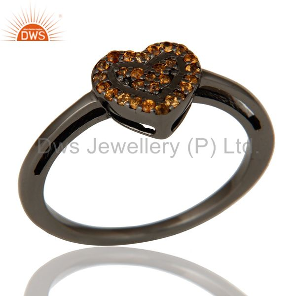 Spessartite Heart Shape Love Ring Black Oxidized Sterling Silver Ring