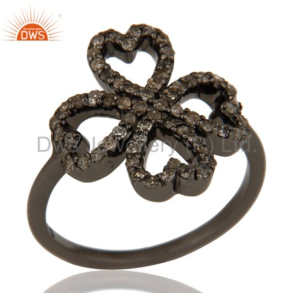 Pave Diamond Heart Design Oxidized Sterling Silver Ring