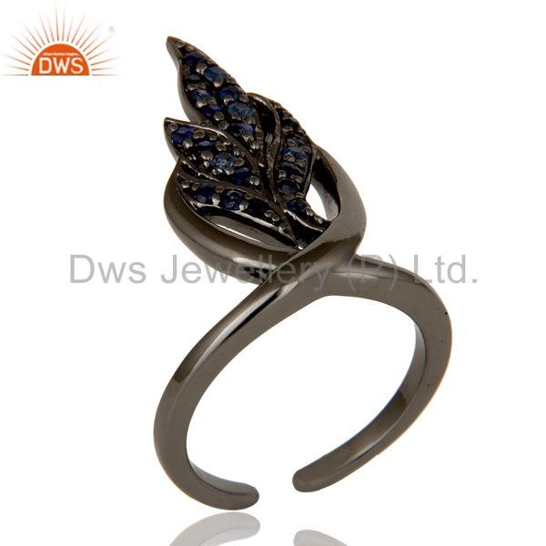 Black Oxidized Sterling Silver and Blue Sapphire Leaf Design Midi Ring