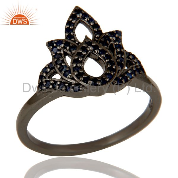 Crown Design Blue Sapphire and Oxidized Sterling Silver Beautiful Ring