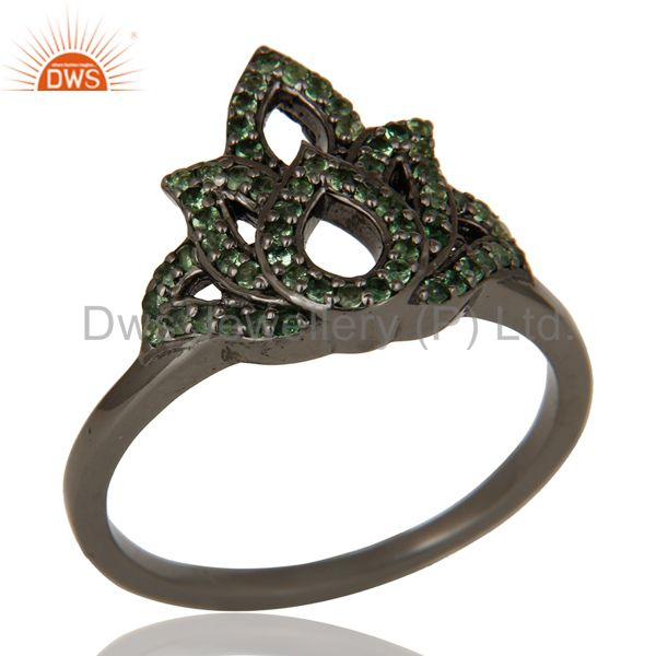 Crown Design Tsavourite and Oxidized Sterling Silver Beautiful Ring