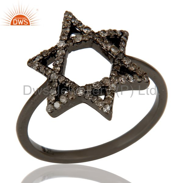 Pave Diamond and Oxidized Sterling Silver Star Design Ring