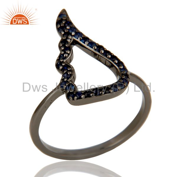 Wing Style Blue Sapphire and Oxidized Sterling Silver Jewelry Ring