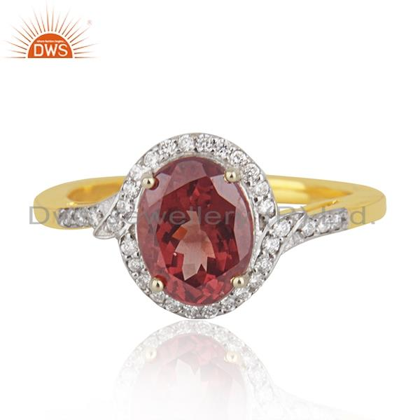 Solid 18k Yellow Gold Diamond and Garnet Birthstone Wedding Ring Manufacturer