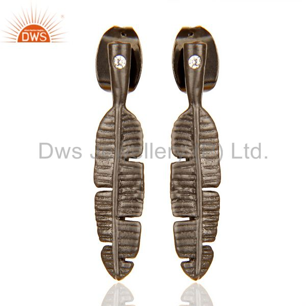 Banana Leaf Black Rhodium Plated Tiny Fashion Post Earring