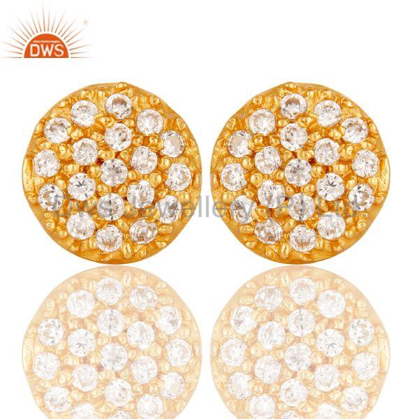 18k Gold Plated Simple Round Cut Brass Stud Earrings with White Zircon