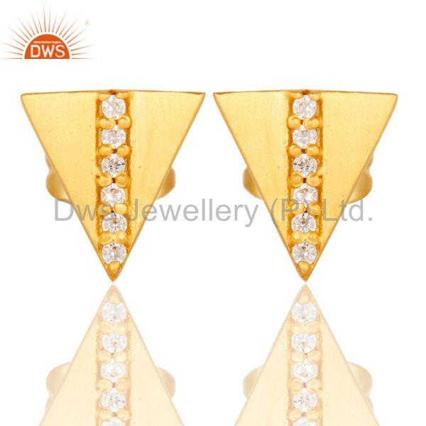 Beautiful White Zirconia Handmade Brass Studs Earrings With 18k Gold Plated