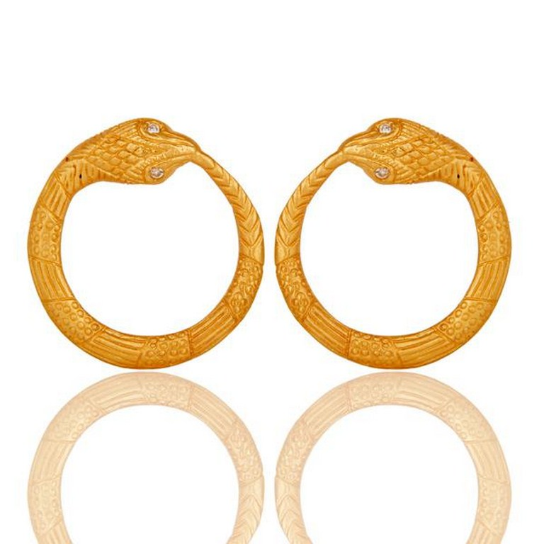 White Zircon With 18k Gold Plated Round Designer Brass Earrings