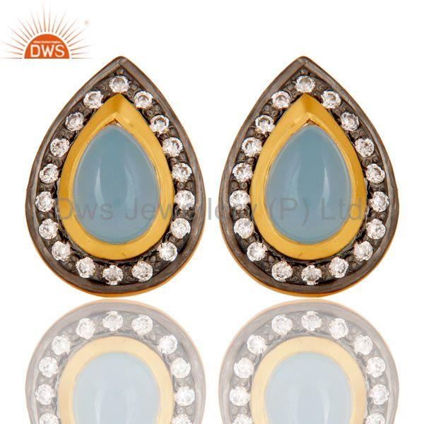 18k Gold Plated Handmade Pear Shpe Design Brass Earrings with Chalcedony & CZ
