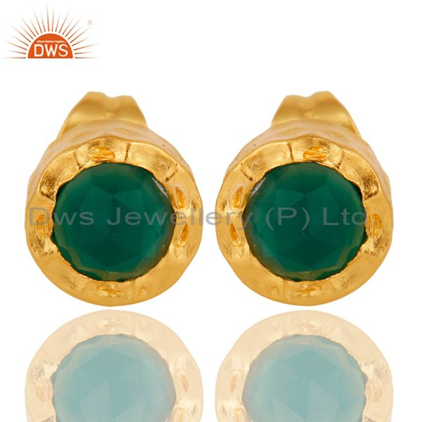 18k Gold Plated With Green Onyx Brass Stud Earrings Jewellery