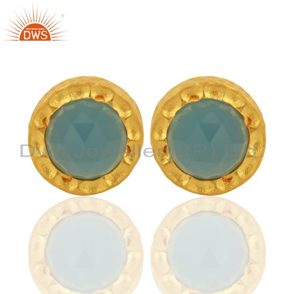 18k Gold Plated With Chalcedony Brass Stud Earrings Jewellery