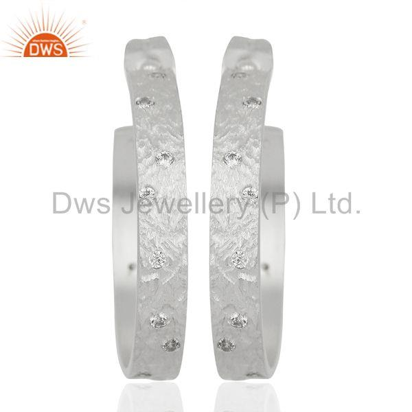 Silver Plated Brass Handmade Cz Hoop Earrings Jewelry Manufacturers