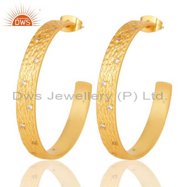 Traditional Handmade Hoop Design Brass Earrings With 18k Gold Plated & CZ