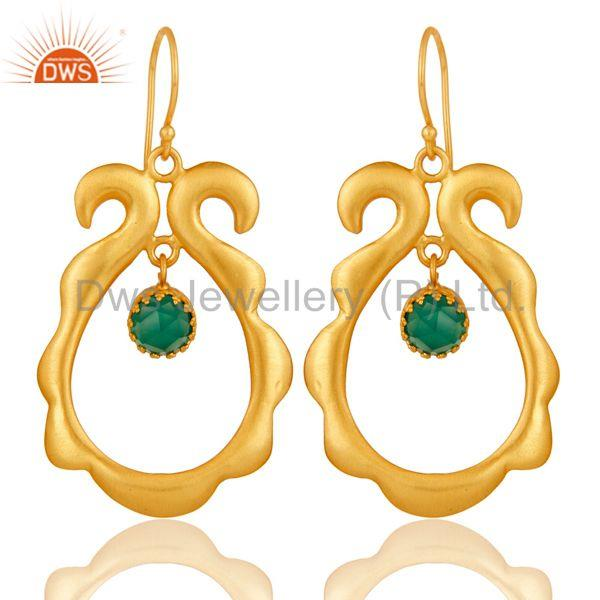 Amazing 18k Gold Plated Brass Drops Earrings Jewellery With Green Onyx