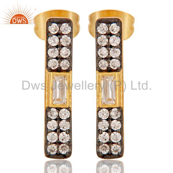 White Zircon Gold Plated Brass Fashion Stud Earrings Manufacturers