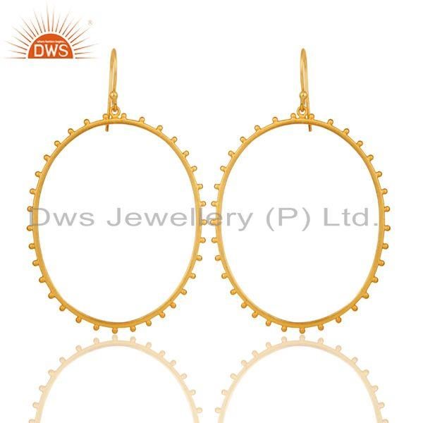 Traditional Handmade Wide Round Design 22k Gold Plated Brass Drops Earrings