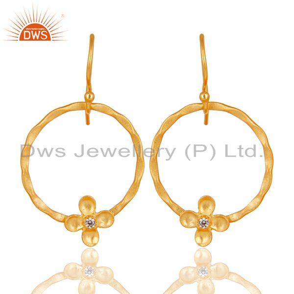 Traditional Handmade Round Flower Design Brass Earring Made In 14K Gold Plated