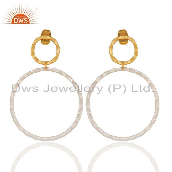 14K Yellow Gold Plated & Silver Plated Handmade Round Drops Brass Earrings