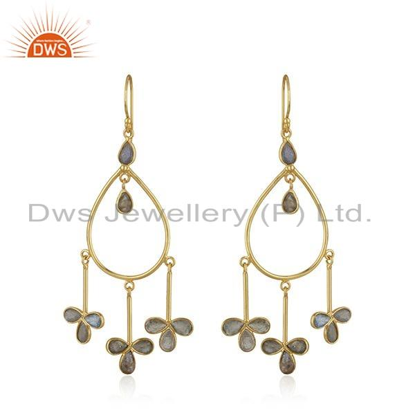 Floral Design Gold Plated 925 Sterling Silver Labradorite Gemstone Earrings Jewelry For Girls