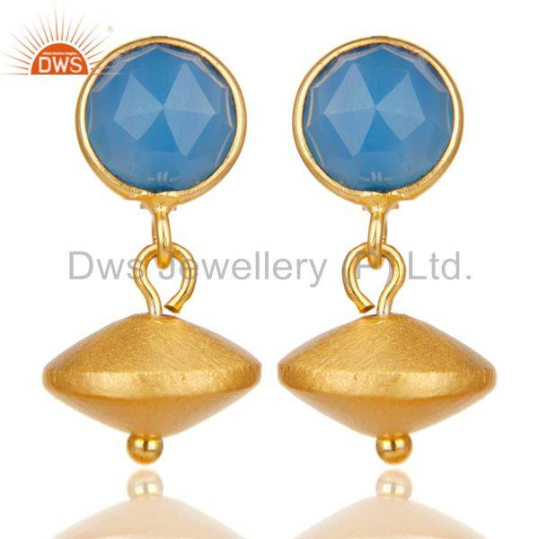 14K Yellow Gold Plated Handmade Dyed Blue Chalcedony Gemstone Drops Earrings