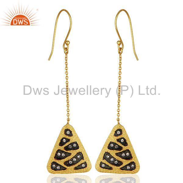 Multi Color Plated Brass Fashion Cz Gemstone Chain Earrings Jewelry