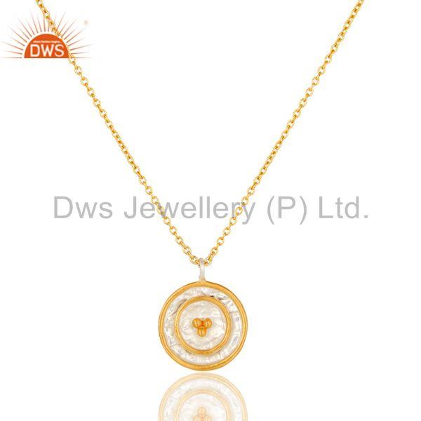 22K Gold Plated Traditional Handmade Round Design Brass Chain Pendant Necklace