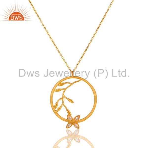 18k Yellow Gold Plated Flower Design White Zirconia Brass Chain Pendant Necklace