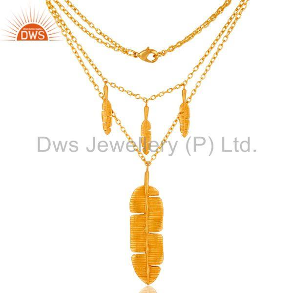 Handmade Leaf Design Gold Plated Fashion Pendant Necklace Jewelry
