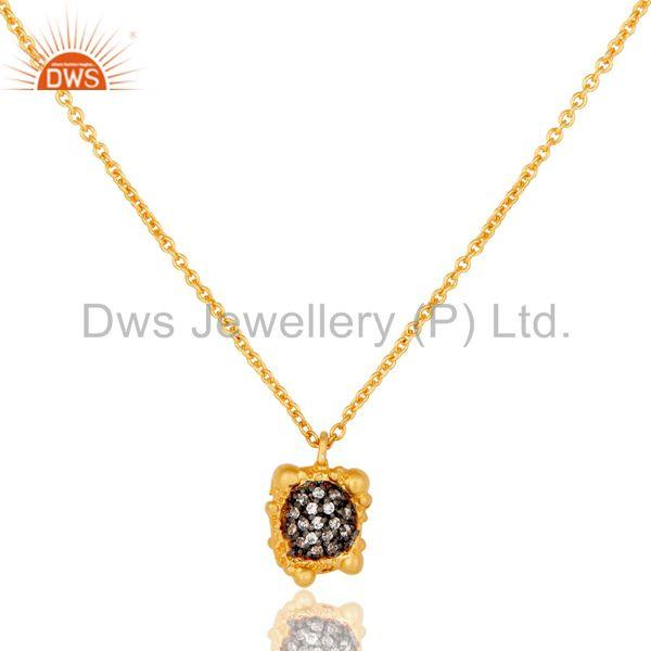 18k Gold Plated Good Look Little Charm White Zirconia Brass Chain Pendant