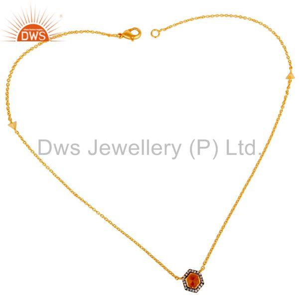 Peach Moonstone & White Zirconia Brass Chain Pendant With 18K Gold Plated