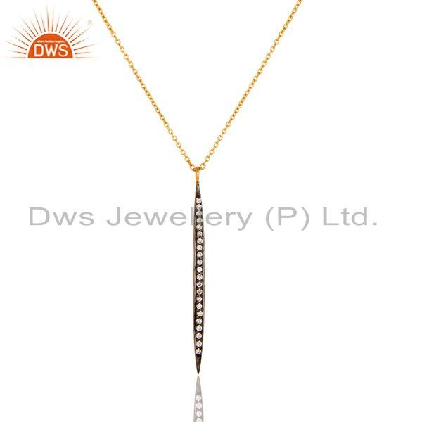 18k Gold Plated White Zirconia Hot Simple Thin Brass Chain Pendant Necklace