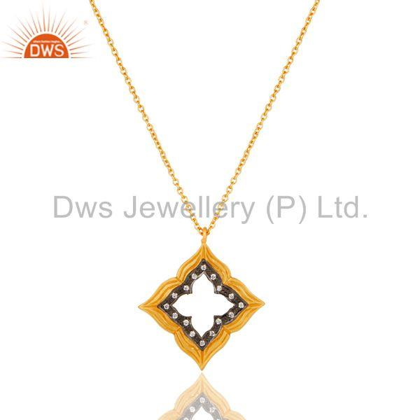 Lovely Good Look Vintage Brass Chain Pendant With 18k Gold Plated & White Zircon