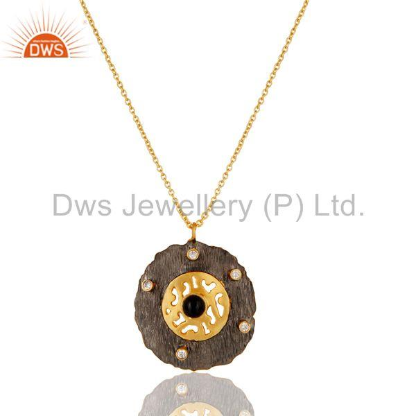Black Onyx & White Zirconia Brass Chain Pendant With 18K Gold Plated Jewellery