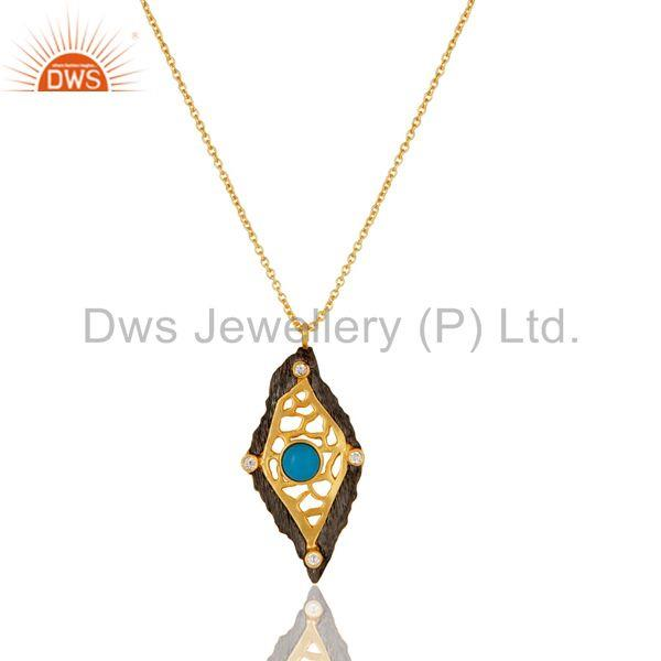 Natural Turquoise & White Zirconia Brass Chain Pendant With 18K Gold Plated