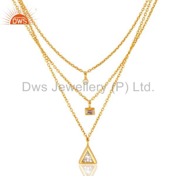 Handmade 18K Gold Plated Three Line Cubic Zirconia Chain Pendant Necklace