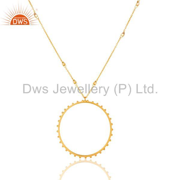 Traditional Handmade 18K Gold Plated Wide Round Cut Brass Chain Pendant Necklace