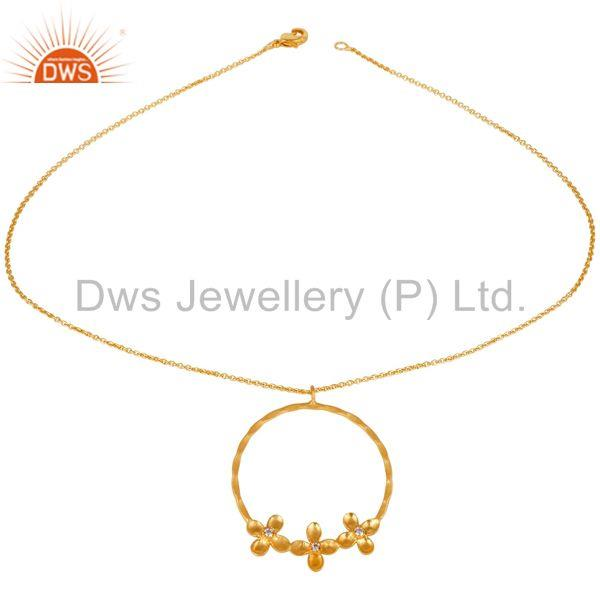 14K Yellow Gold Plated Handmade Flower Design Wide Brass Chain Pendant Necklace