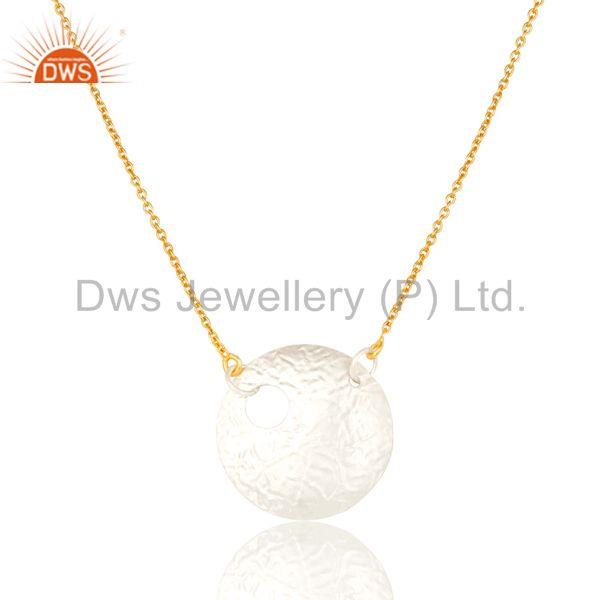 14K Gold Plated & Silver Plated Handmade Round Disc Style Brass Chain Pendant