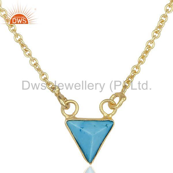 Blue Stone Trianngle Pendent 14K Gold Plated Chain Pendent