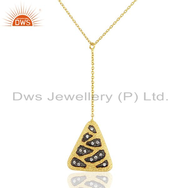 Handcrafted Brass Gold Plated Fashion White Zircon Pendant Supplier